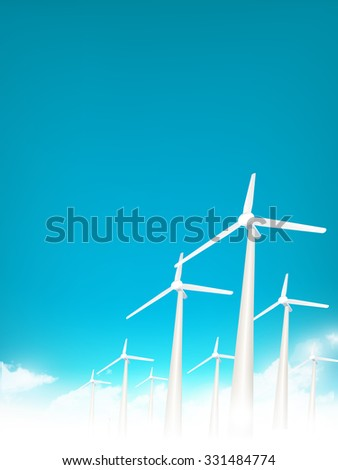 vector wind turbines above the clouds - stock vector