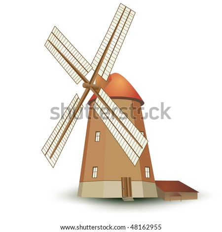 Vector windmill isolated on white - stock vector