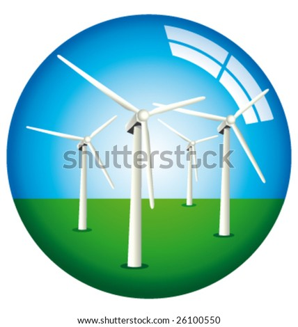 Vector windmills in a glass globe - stock vector