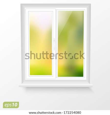 Vector window and spring landscape - stock vector