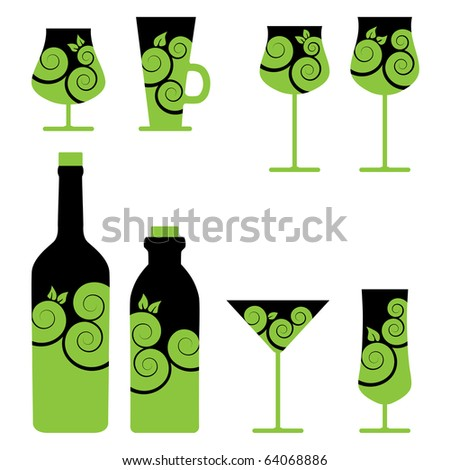 Vector wine and cocktail glasses - stock vector
