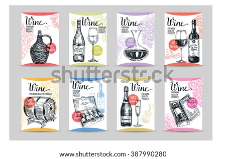 Vector wine background/Wine illustration/Winery illustration/Wine card/Wine template design/wine sketch/vintage card/Red Wine/white wine/card collection - stock vector
