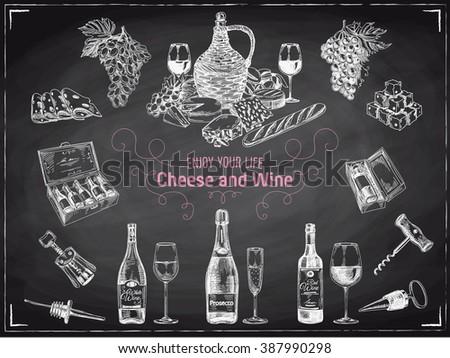 Vector wine background/Wine illustration/Winery illustration/Wine set/Wine template design/wine sketch/wine vintage/Red Wine/white wine/wine collection/Wine Chalkboard - stock vector