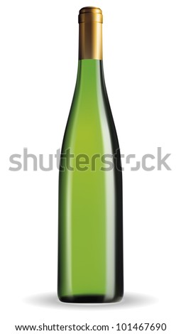 Vector wine bottle with clear glass and bright content. - stock vector