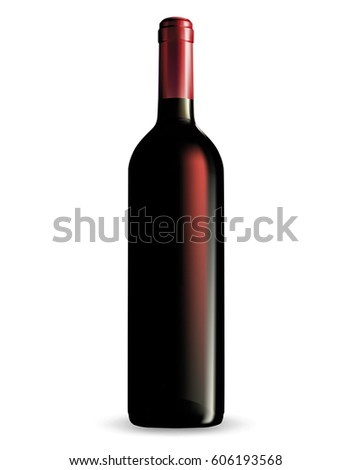 Vector wine bottle with clear glass and bright content.