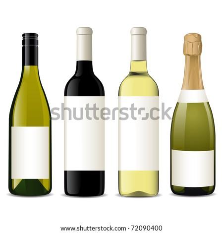 Vector wine bottles - stock vector