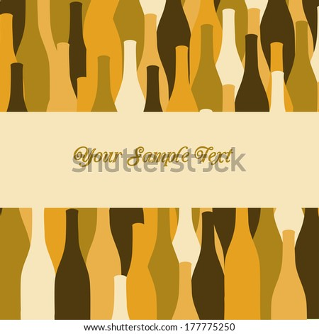 vector wine bottles background for menu cover or party invitation - stock vector