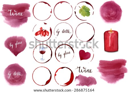 Vector wine design set: a collection of watercolor drawings and design elements, including stains of various shapes, words 'wine', 'by glass', 'by bottle', glass of wine, vine leaf, grapes, candle - stock vector