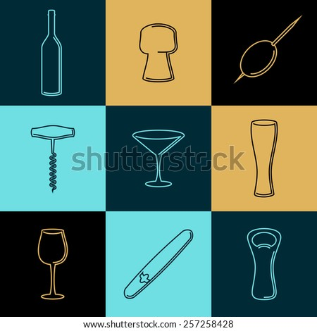 Vector wine line icons and logos. Set of outline emblems and design accessories - stock vector