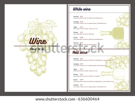 Wine List Menu Card Stock Vector   Shutterstock