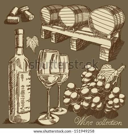 Vector wine set - stock vector