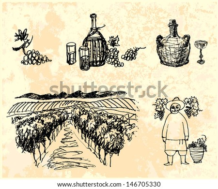 Vector wine set. Hand drawn picture. - stock vector