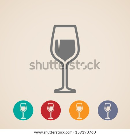 vector wineglass icons - stock vector