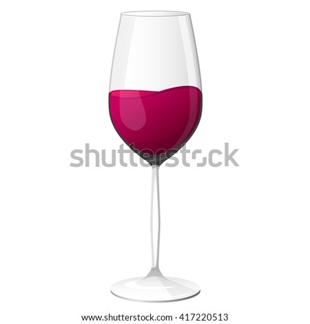 Vector wineglass with red wine.