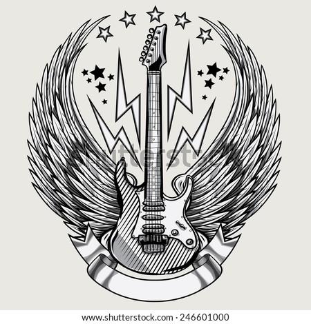 Vector winged guitar emblem - stock vector
