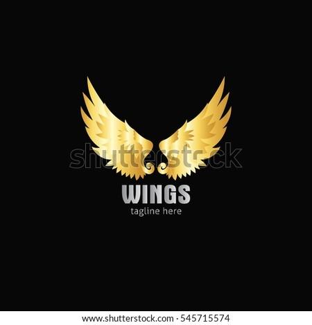 3d gold arrow silver wings logo stock vector 461217715