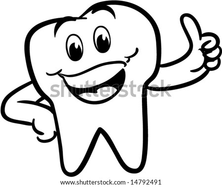 vector winking happy smiling tooth - black and white version - stock vector