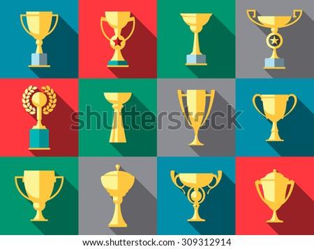 Vector winner cup. Trophy flat icon set - stock vector