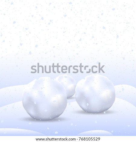 Vector Winter Background. Three Snowballs on Snow. Falling Snow. Vector Illustration.