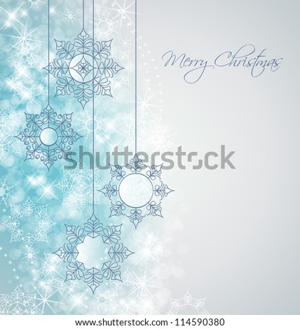 Vector winter background with beautiful various snowflakes - stock vector