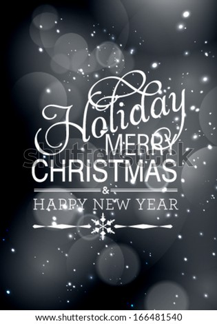 Vector winter bokeh background. Merry Christmas and Happy New Year crad.