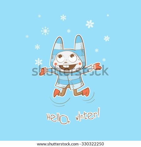 Vector winter card with cartoon rabbit and snowflakes. - stock vector