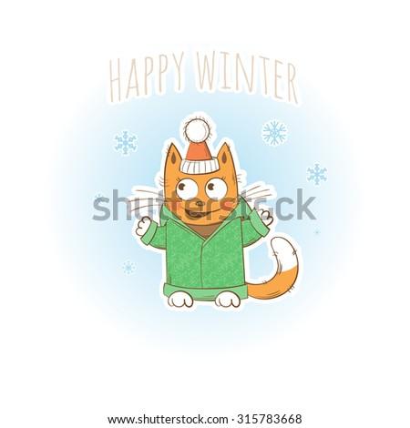 Vector winter card with cute cartoon kitten in winter clothes. - stock vector