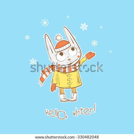 Vector winter card with cute cartoon rabbit and snowflakes. - stock vector