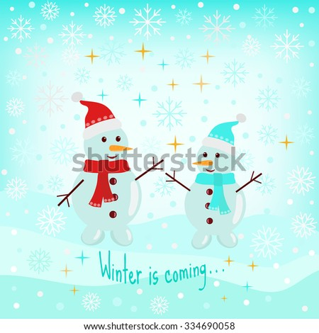 Vector winter card with two snowmen. - stock vector