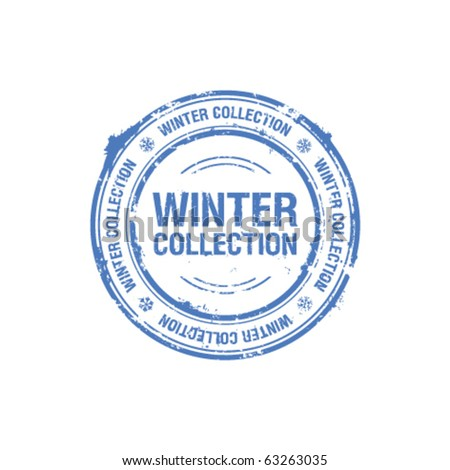 vector winter collection stamp - stock vector