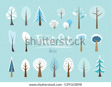 Vector winter color forest set. Various trees and bushes wood cartoons flat style. Conifers and deciduous. Different simple trees and shrubs on blue background. Snow