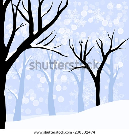 Vector winter forest or wood with bare trees in the deep snow - stock vector