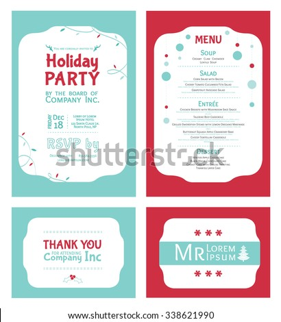 Vector Winter Holiday Party Invitation Set. Light blue. Red. Festive. Menu. Thank you. Place card. - stock vector