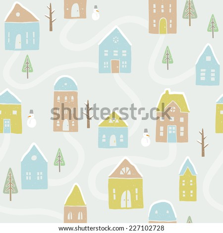 Vector winter houses seamless pattern