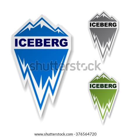 vector winter iceberg ice mountain sticker - stock vector