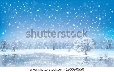 Vector winter landscape. - stock vector
