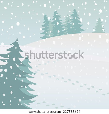 Vector winter landscape with fir trees and snow - stock vector