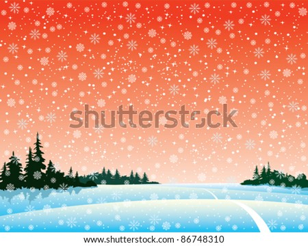 Vector winter landscape with forest and snowfall