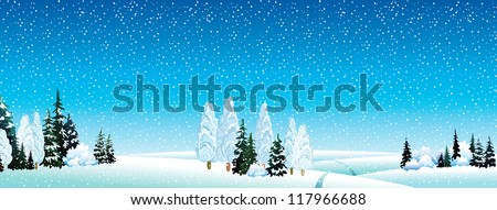 Vector winter landscape with forest and snowfall on a blue sky background - stock vector