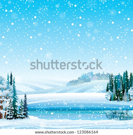 Vector winter landscape with frozen lake, forest, hill and snowfall - stock vector