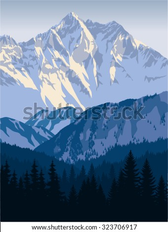 vector winter mountains landscape