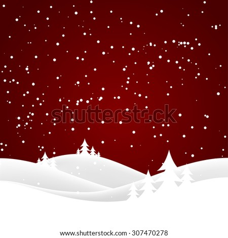 Vector winter nature with forest, tree and snow - stock vector