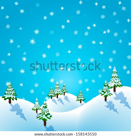 Vector winter pine forest with the snowfall  - stock vector