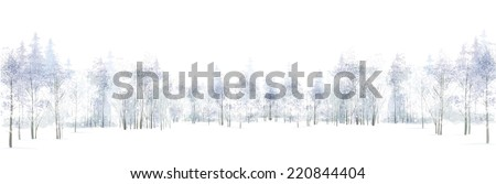 Vector winter scene with forest background isolated on white. - stock vector
