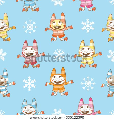 Vector winter seamless pattern with cartoon rabbits  and snowflakes on a blue  background. - stock vector