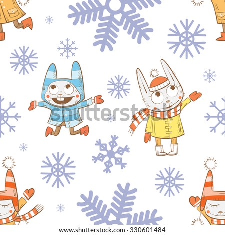 Vector winter seamless pattern with cartoon rabbits  and snowflakes on a white  background. - stock vector