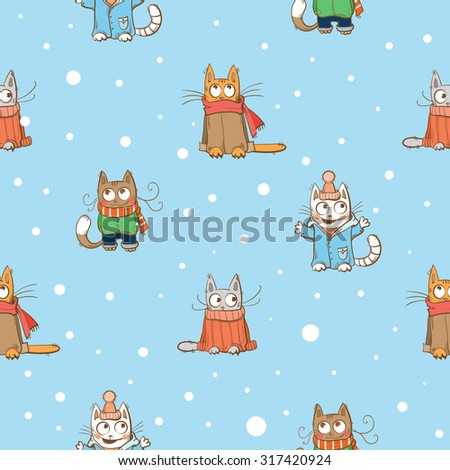Vector winter seamless pattern with cute cartoon cats and snowflakes on a blue  background. - stock vector