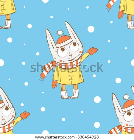Vector winter seamless pattern with cute cartoon rabbits  and snowflakes on a blue  background. - stock vector