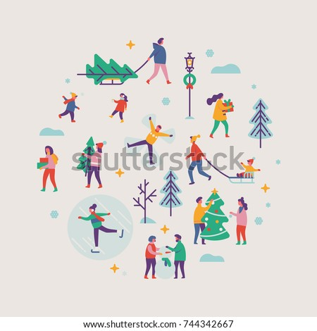 Vector winter season round shaped design element on Xmas holidays outdoor activities. Abstract people making snowman, carrying xmas trees on sleigh, carrying gift boxes, ice skating, playing, etc.