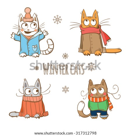 Vector winter set with cute cartoon cats in winter clothes. - stock vector